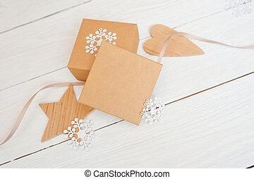 mockup Christmas gift boxes with Christmas decorations....