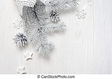 Mockup Christmas white tree and cone. Flatlay on a white wooden background, with place for your text
