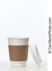 Coffee cup of paper on a white background.