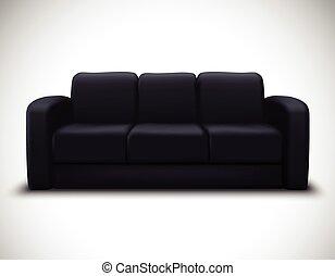 mockup, divano, elemento, realistico, manifesto, interno