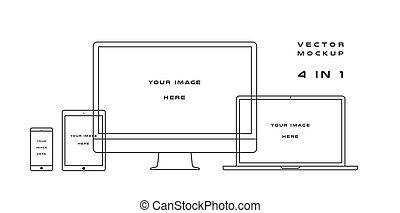 mockup., draagbare computer, computer, ontwerp, elektronisch, web, gebruiken, achtergrond., vrijstaand, kits., presentatie, black , mal, witte , monitor, smartphone, tablet, gadget, apparaat, schets, vector, ui, groenteblik