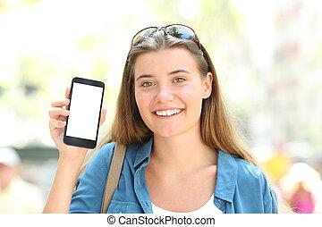 mockup, ekran, telefon, czysty, dziewczyna, pokaz, szczęśliwy