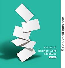 mockup, ensemble, cartes, réaliste, business