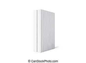 mockup, espinha, difícil, cobertura, isolado, dois, livro, levantar, em branco, branca