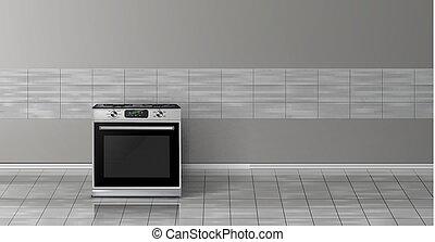 mockup, estufa, -, realista, vector, 3d, cocina