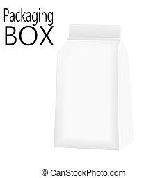 Mockup Foil Food Bag Package Of Coffee, Salt, Sugar, Pepper, Spices Or Flour, Filled, Folded. Vector illustration.