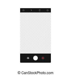 mockup, foto, app, vettore, interface., schermo, macchina fotografica, composer.