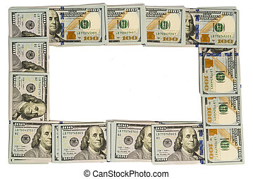 Mockup frame made of hundred-dollar banknotes isolated on white with copy space