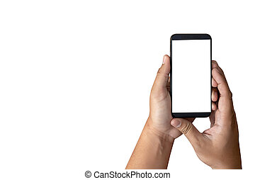 Mockup hands holding mobile phone with blank screen