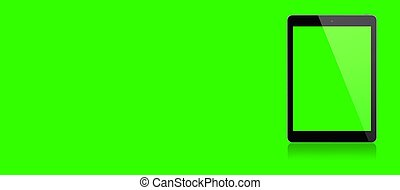 Mockup image of 3d rendering White tablet pc or smartphone with blank green  screen on green background. fit for using design element.