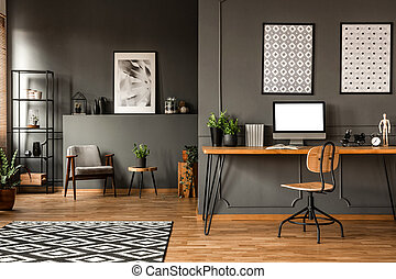 Mockup in grey open space - Wooden chair at desk with mockup...