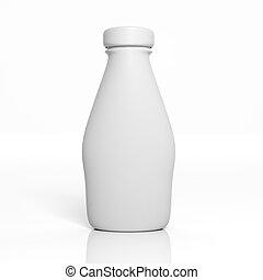 mockup, isolato, bottiglia, vuoto, bianco, 3d