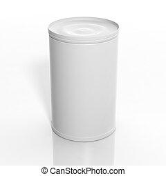 mockup, isolato, lattina, vuoto, bianco, 3d