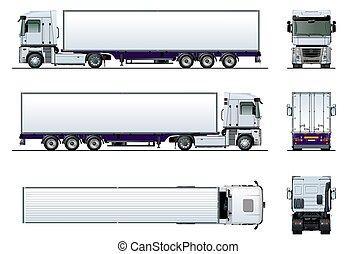 mockup, isolerat, lastbil, vit, frakt, halv-, vektor
