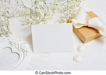 mockup Letter with gift and greeting card for St. Valentine's Day in rustic style with place for your text, Flat lay, top view photo mock up