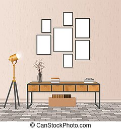Mockup living room interior in hipster style with empty frames, brick flooring and concrete wall. Loft design concept.