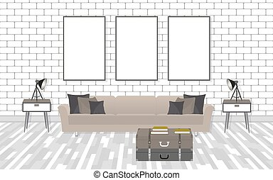 Mockup living room interior in hipster style with frames, sofa, lamps and white brick wall.