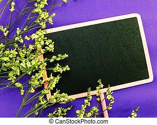 mockup, met, bloemen, lege ruimte, voor, tekst