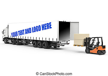 Mockup of a truck with forklift loading