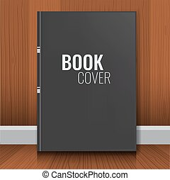 Mockup of black realistic book cover with wood background.