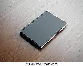 Mockup of blank small black book. 3d rendering