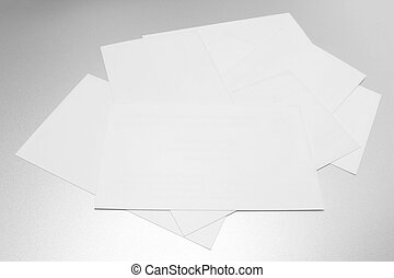 Mockup of business cards on white textured paper background
