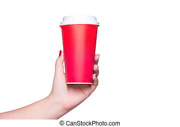 Mockup of female hand holding a coffee paper cup isolated on white.