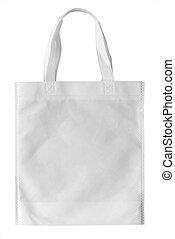 Mockup of paper shopping bag on white background