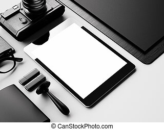 Mockup of tablet and classic elements on the white background. 3d render