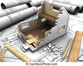 mockup of the house and drawings - 3D structure of the...
