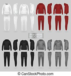 Mockup of the sportswear hoodie and trousers in four dimensions