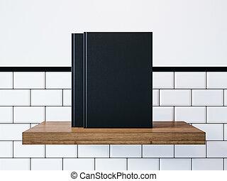 Mockup of two blank black books. 3d rendering