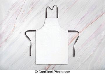 Mockup of white apron on marble background