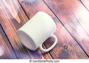 Mockup of white cup laying on wooden table - White cup ...