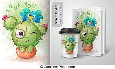 mockup, -, oiseau, cactus, ton, idée