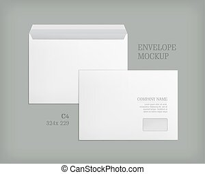 Mockup open and closed envelopes.