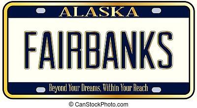 mockup, plaque, licence, alaska, fairbanks, ville, état