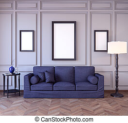 Mockup Poster in the interior 3D illustration of a classic style
