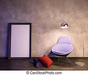Mockup Poster in the interior 3D illustration of a modern design.