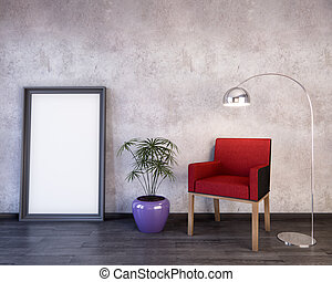 Mockup Poster in the interior 3D illustration of a modern design