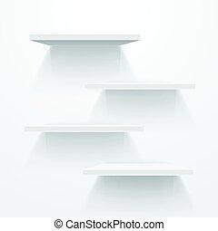 mockup, prateleiras, cinzento, wall., vetorial, branca, vazio