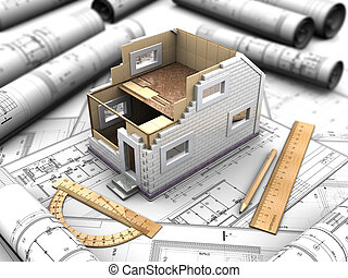 3d mockup of the prefabricated house on abstract background