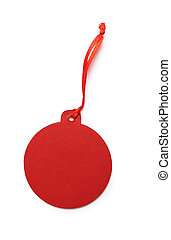 mockup Red gift tag or label isolated clipping mask on white background with path, top view