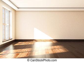 mockup, rendering., 大きい, 窓。, 内部, 空, 3d
