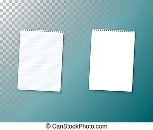 mockup, set., メモ用紙, 現実的, ベクトル, 空