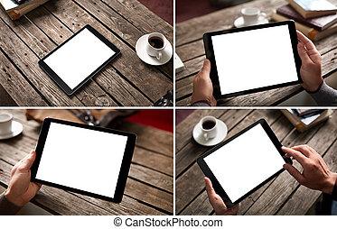 mockup, set, van, digitaal tablet, pc, beelden