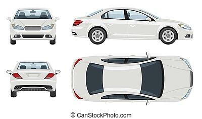 mockup, sommet, côté, véhicule, vue, marquer, template., blanc, voiture, dos, vecteur, devant