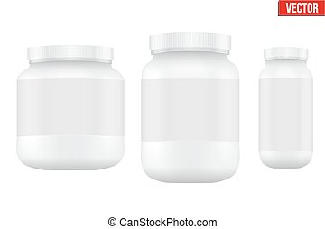 Mockup Sport Nutrition Container. Whey Protein and Gainer. -...