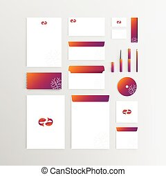 Mockup Stationery Brand Identity Corporate set template with Two Fish or Pisces symbol icon illustration isolated on grey gradient background with copy space