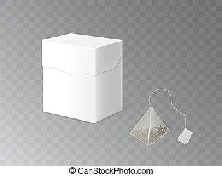 mockup, tè, imballaggio, realistico, vettore, erbaceo, 3d